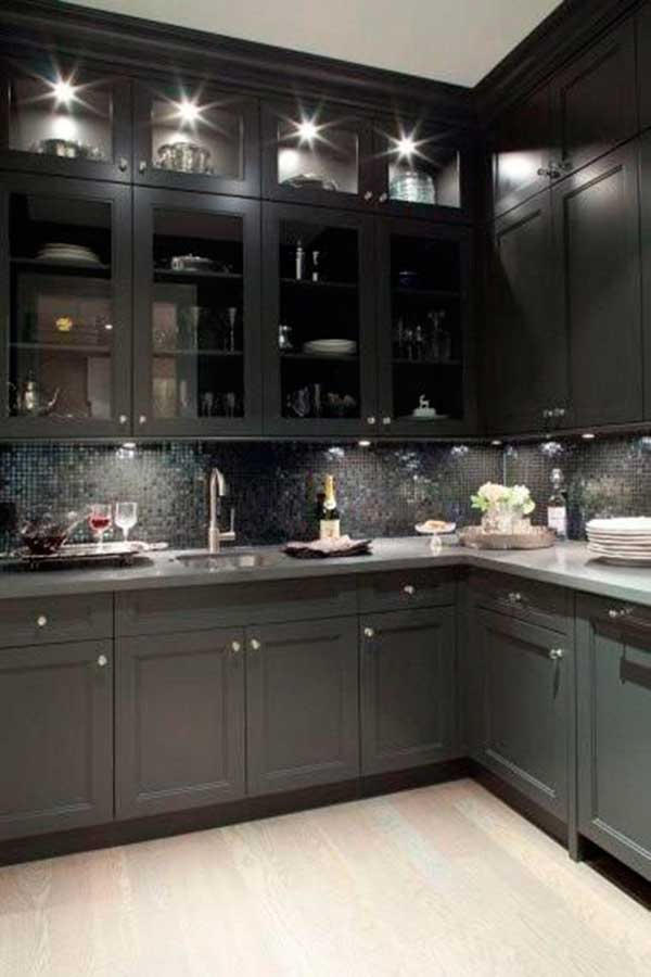 Black kitchen cabinets with glass doors for Black kitchen cabinet doors