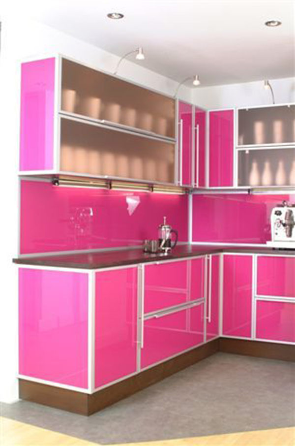 Contemporary Pink Kitchen Cabinet
