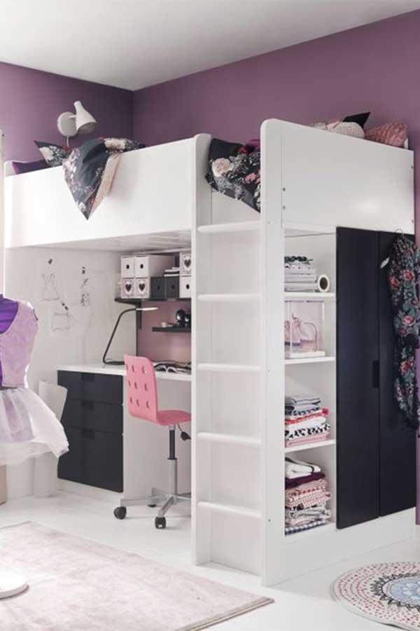 Girls-White-Loft-Bed-With-Desk