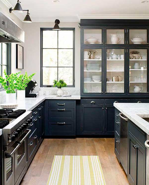 Modern-Country-Style-Black-Kitchen-Cabinet