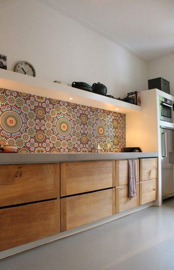 Mosaic Backsplash Kitchen Cabinet