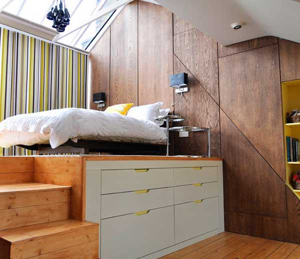 Space-Saving-Elevated-Bedroom-With-Mattress