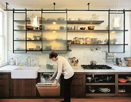 Industrial Glass Kitchen Cabinets