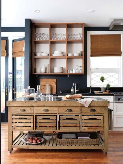 Simple Open Kitchen Cabinets
